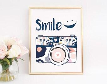 photographer gift, camera print, photography prints, Smile Printable, Photography Gifts, Sign Photography, Gift for Photographer.