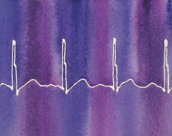 Fairly Normal Heartbeat (Purple) - original watercolor ekg painting
