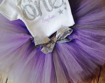 Purple First Birthday Outfit   Twinkle Twinkle Little Star First Birthday Outfit  Birthday Outfit Purple Silver   1st Birthday Girl Outfit