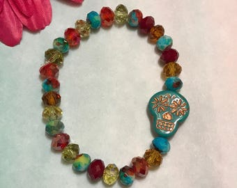 sugar skull bracelet, teal bracelet, beaded bracelet, stretch bracelet, bright colors, jewelry, 7 inches