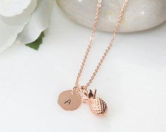 SPECIAL SALE - Rose Gold Pineapple Necklace, Personalized Rose Gold Necklace, Rose Gold Jewelry