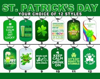 DOG TAG NECKLACE - St. Patrick's Day Set 1 Irish Holiday Ireland Drinking Luck Clover Shamrock