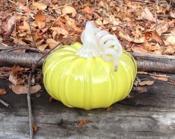 """4"""" Glass Pumpkin by Jonathan Winfisky -Retro Opaque Citrus Yellow - Hand Blown Glass"""