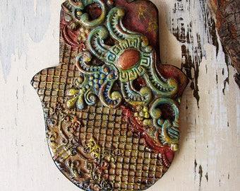Architectural Hamsa Wall Hanging, Handmade Pottery Textured 3D Hamsa, Wedding Gift, Good Luck Charm, Ready to Ship.