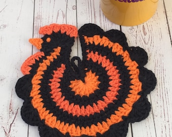Chicken hot pad,orange,black,Halloween,table protector,trivet,party decor,hostess gift