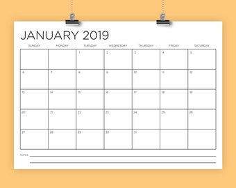 A4 2019 Calendar Template | INSTANT DOWNLOAD | 297 x 210 mm Thin Sans Serif Type Monthly Printable Minimal Desk Wall Calender | Print Ready