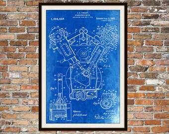 Blueprint Art of Patent Hydrocarbon Motor 1922 Technical Drawings Engineering Drawings Patent Blue Print Art Item 0031