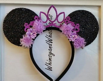 Black Sparkly Minnie Mouse Ears with Purple Glittery Tiara and Purple flowers