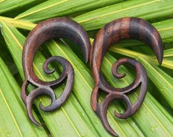 "Sono Wood Double Vine Spiral Hangers (Pair) 3mm (8G) 4mm 5mm (4g) 6mm (2g) 8mm (0G) 10mm (00G) 12mm (1/2"") 14mm (9/16"") 16mm (5/8"") 18mm"
