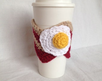 Bacon and egg coffee cozy