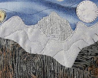 Moon and Star Fiber Art - Father's Day Gift - Small Quilt Landscape - Handmade Postcard Art - Landscape Art - Outdoor Landscape - Nature Art