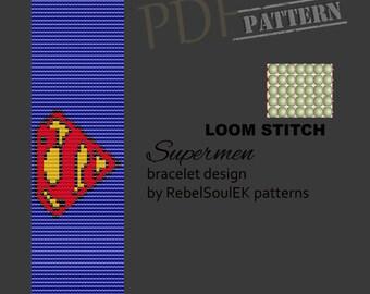 Comic pattern, pop art loom pattern, square stitch, bead pattern, bead loom pattern, pdf pattern loom, scheme loom,superman