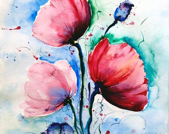Red Poppy Painting - Original Watercolor painting - Poppies Painting - 11 x 14 art - wall art