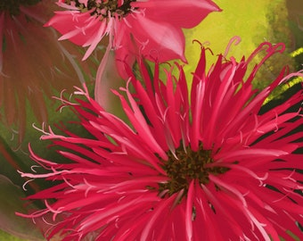 """Original dgital Floral painting  by Nancy Long, """"Bee Balm"""" rec flowers on a lime and dark green background by NancyLong. Nancylongdesigns"""