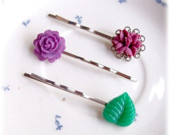 Botanical Hair Pin Set - Purple Floral Vintage Flower Leaf - Bobby Barrettes Grips Accessories Green For Girls Women