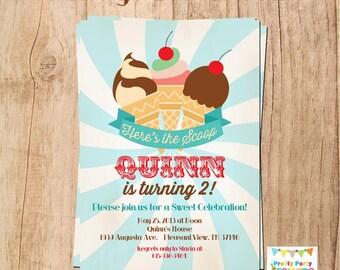 VINTAGE ICE CREAM party invitation - You Print