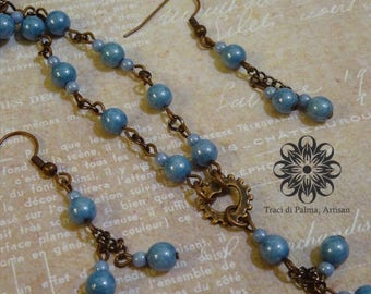 Steampunk Jewelry: Necklace and Earrings - Sky Blue Czech Beads