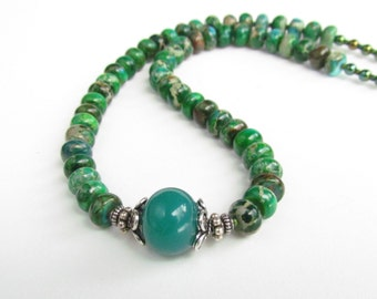 Green Handmade Lampwork and Jasper Necklace, by Harleypaws