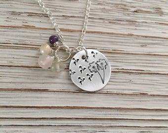 Fertility Stone Necklace, Infertility Jewelry, TTC Jewelry, Fertility Gemstones, Dandelion Fluff, Infertility Stone Necklace, Baby Dust