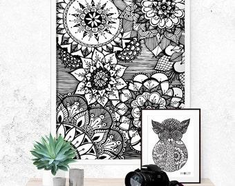 Flower Print Framed Poster