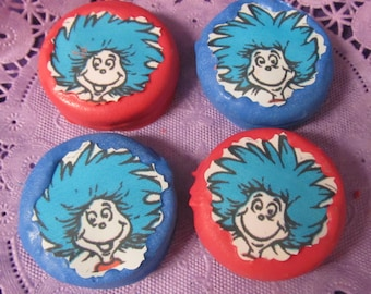 24 Seuss Thing 1 & Thing 2 chocolate covered cookies 24