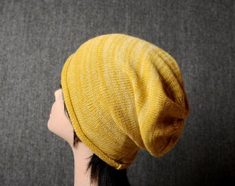 Mustard Yellow beanie, womens knit slouchy hat, knit accessories, unique gift