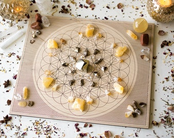 "12"" Overlapping Flower of Life and Metatron's Cube - Rectangular Birch Wood Crystal Grid Altar Board - Sacred Geometry Crystal Path"