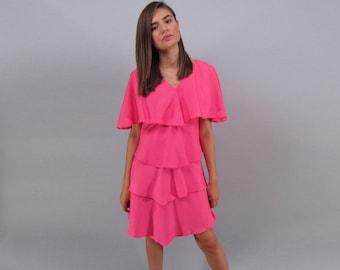80s Party Dress / Vintage Ruffle Dress / Hot Pink Dress / Tiered Dress / Linen Dress Δ size: XS/S