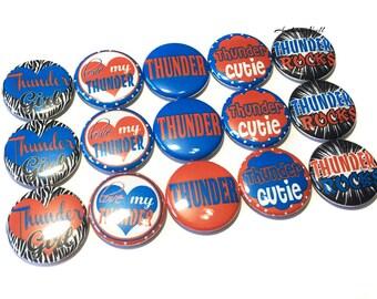 """Thunder, 1"""" Button, Thunder Button, Thunder Pin, Thunder Pinback, Thunder Flatback, Thunder Badge, Thunder Party Favor, Thunder Baseball"""
