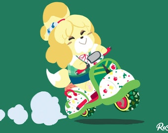 Isabelle Cute Scoot - Mario Kart - Animal Crossing Art Print + Sticker