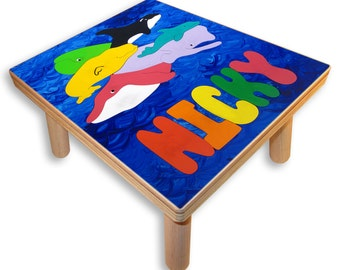 NAME PUZZLE STOOL | Ocean Whales