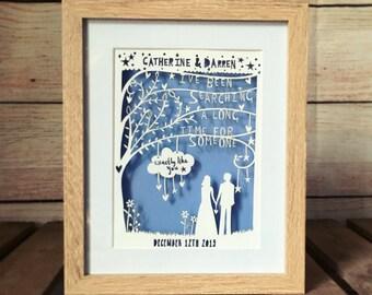 Rob Ryan inspired paper cut, anniversary gift, personalised paper cut, song lyrics, wedding gift, song lyrics print, first dance lyrics