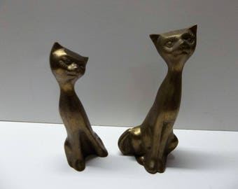 Vintage Brass Cats Pair 7 Inches