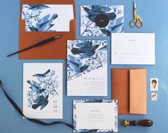 Brenna Wedding Invitation & Correspondence Set / Vintage Bird Art with Modern Accents / Copper and Blue / Sample Set
