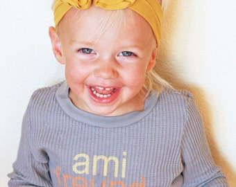 Mustard Yellow Jersey Knit Flower Headband - Baby Headband - Fall Headband