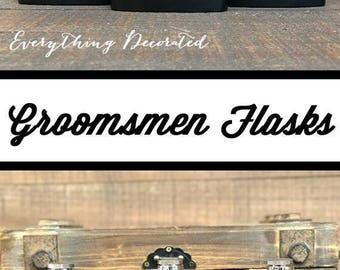 13 Personalized Engraved Flasks, groomsmen gift, wedding favor, best man, usher, father of the groom, bride