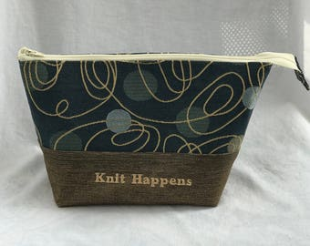 Project Bag for knit, crochet, all yarn lovers, with a wee bit of attitude, because...Knit Happens