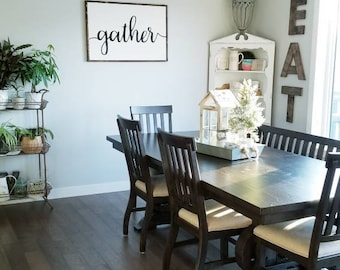 Gather Sign | Home Sign | Kitchen Sign | Wood Framed Sign | Farmhouse Style  |