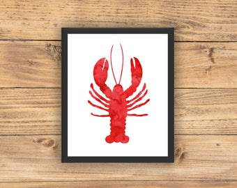 Lobster Wall Art, Nautical Decor, Lobster, Red Lobster, Coastal Decor, Coastal Wall Art, Nautical Nursery, Nautical Bathroom, PRINTABLE ART
