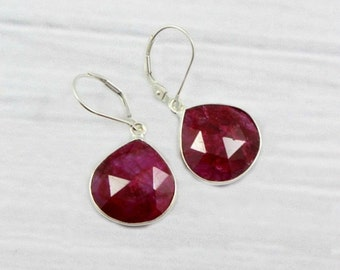 Ruby Earrings, Minimalist Earrings, Gemstone Earrings, Dainty Earrings, July Birthstone, Amethyst, Emerald, Sterling Silver, Gold Filled,