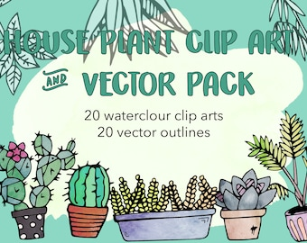 Instant Download illustrated house plants, cactus and succulents clipart pack, transparent PNG, cactus, plants, home, vectors
