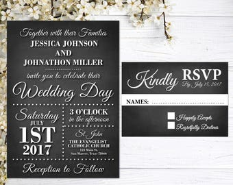 Rustic Wedding Invitations | Chalkboard Wedding Invites | Black and White | Elegant Wedding Invites | Broadway Inspired | Together With Love