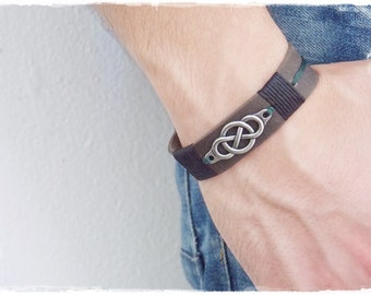 Men's Leather Bracelet, Infinty Celtic Bracelet, Celtic Men's Bracelet, Norse Viking Wristband, Celtic Leather Bracelet, Viking Bracelet