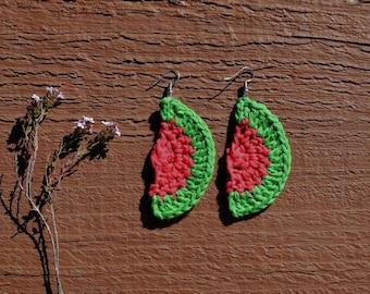 Watermelon Crochet Earrings