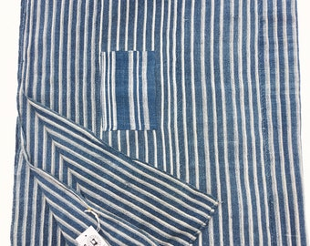 Mud Cloth, Indigo Stripe with patch, African, Washed and ready to use, and faded indigo fabric