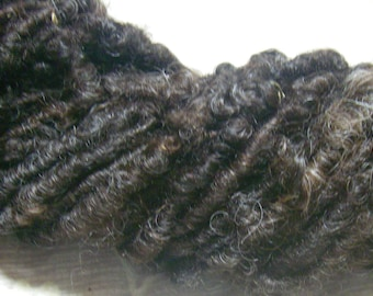Handspun Curly Textured Bulky BFL x Wensleydale Wool Art Yarn in Natural Black and Dark Brown by KnoxFarmFiber for Knit Crochet Weave Felt