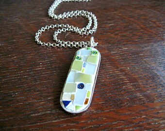 Mosaic Pendant Necklace, Silver Pendant, Gift for Her, Mosaic Art, Green Mosaic Pendant, Cartouche Pendant, Oval Pendant, Hand Made Necklace