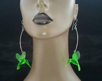 Beautiful Plastic Dangling Hummingbird Earrings, Womens Earrings, Long Earrings, Womens Jewelry, Large Earrings, Dangling Earrings