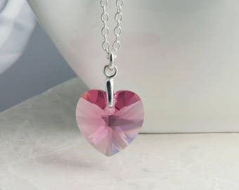 Rose Pink Crystal Heart Necklace - sterling silver,  Swarovski crystal, October birthstone