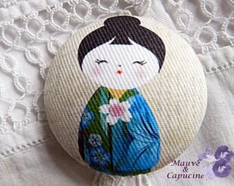 Fabric button, printed purple kokeshi, 1.57 in / 40 mm